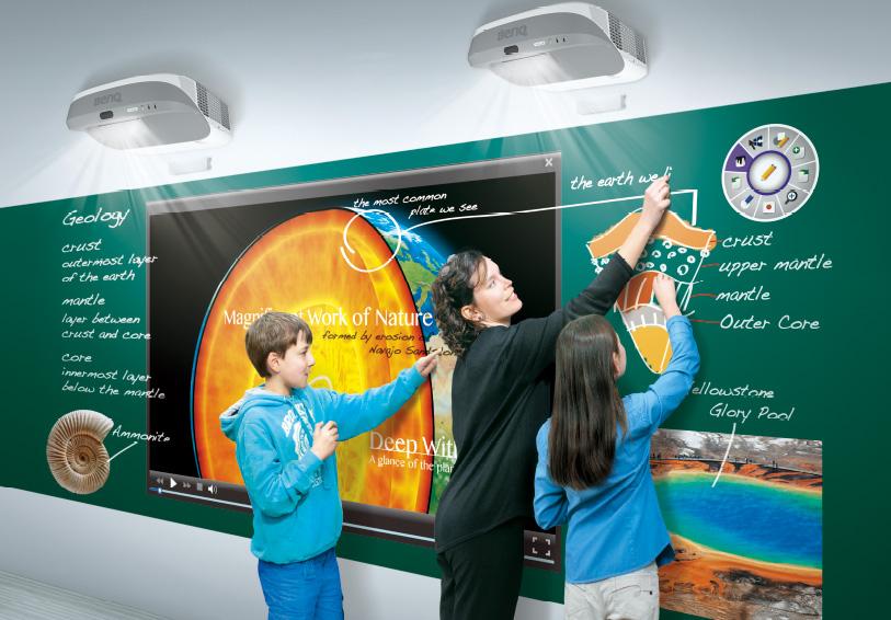 BenQ ultra-short-throw projector maakt dual-screen projectie met multi-touch mogelijk