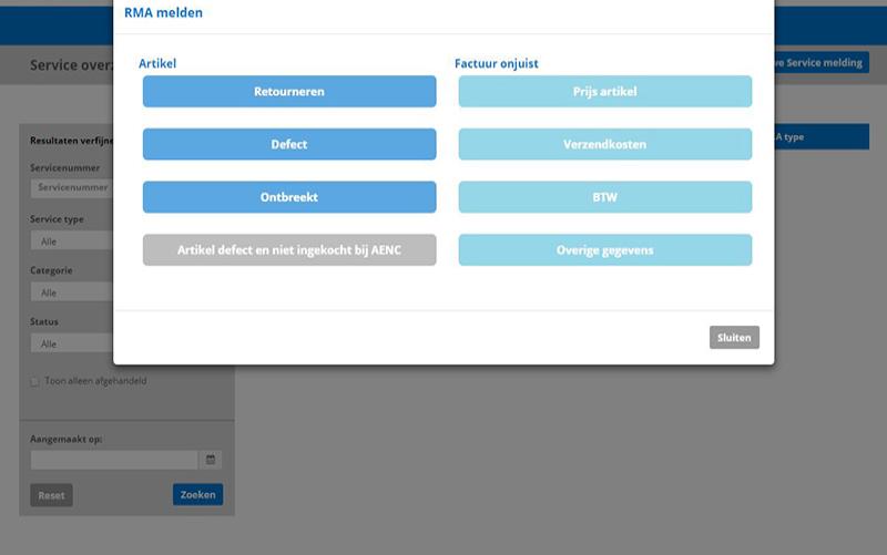Service- en supportmodule Login Portal